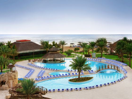 Outdoor heated pool at Fujairah Rotana Resort & Spa