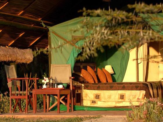 Outdoor seating at Sweetwaters Tented Camp