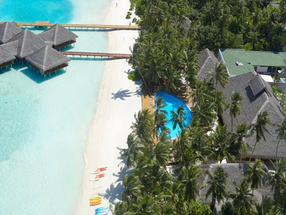 Overhead beach view at Medhufusi Island Resort Hotel