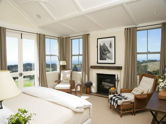 Owner's Cottage master bedroom at The Farm at Cape Kidnappers