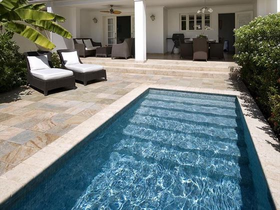 The plunge pool and sun terrace