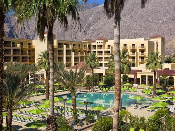 Pool and resort view at Renaissance Hotel Palm Springs