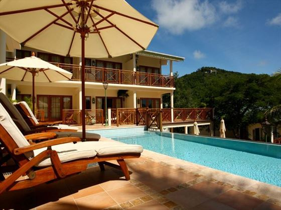 Pool and sun terrace at Bequia Beach Hotel