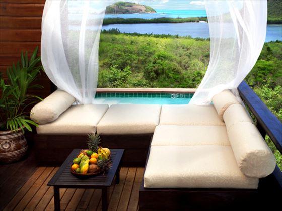 Pool corner seating at Hermitage Bay Hotel