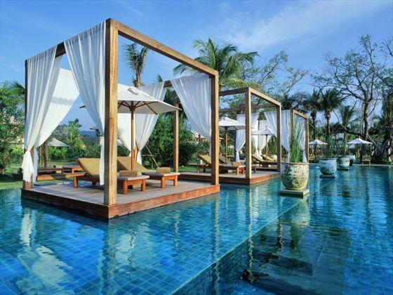 Pool lounge areas at The Sarojin