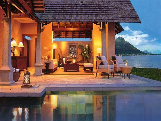 Poolside loungers at Maradiva Villas Resort & Spa