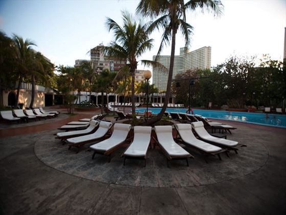 Poolside loungers at the Nacional
