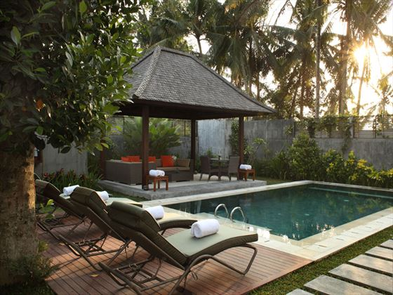 Poolside terrace and gazebo at The Samaya Ubud