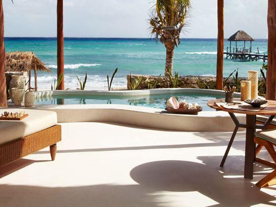 Private pool and beach views at Viceroy Riviera Maya