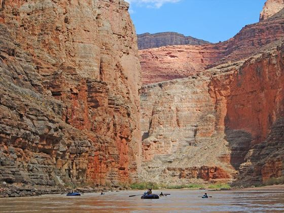 Rafting on the Colorado River as it flows through the Grand Canyon
