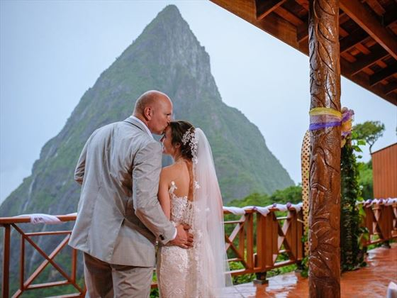 Bride & Groom with views of The Pitons