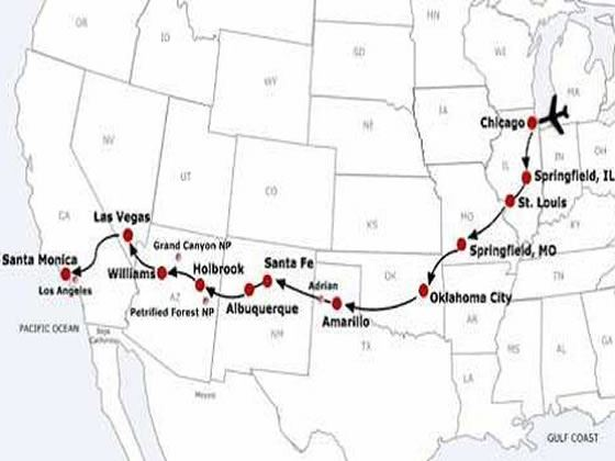 Self Drive Route 66 15 Night Fly Drive Tour – Travel Route 66 Map