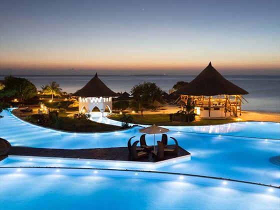 Royal Zanzibar Beach pool at night