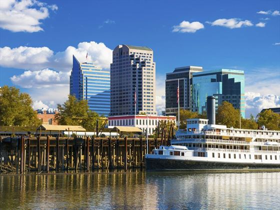 Sacramento skyline and riverboat
