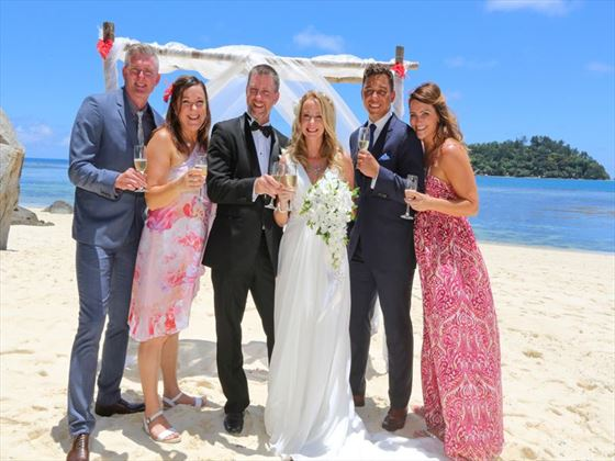 Bride & Groom with family & friends at Sainte Anne Island