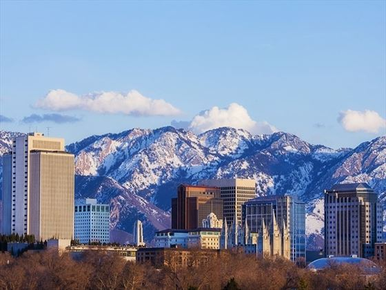 Salt Lake City skyline in early spring