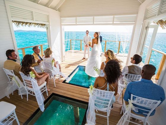 Stunning over the water chapel at Sandals South Coast