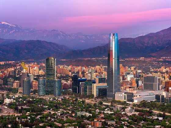 Santiago Skyline & Mountain Backdrop, Chile