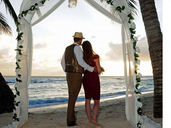 Bride & Groom at sunset, Sugar Bay Barbados