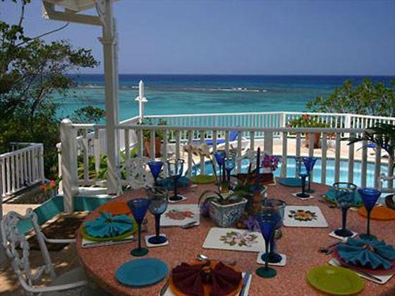 Dine al fresco and enjoy the spectacular views
