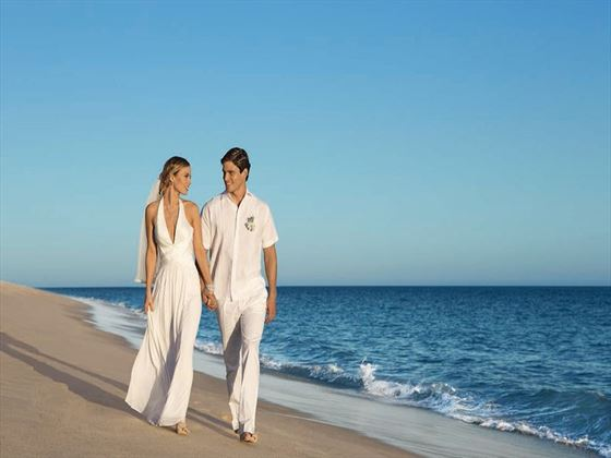 Bride & Groom on the beach at Secrets Akumal Riviera Maya