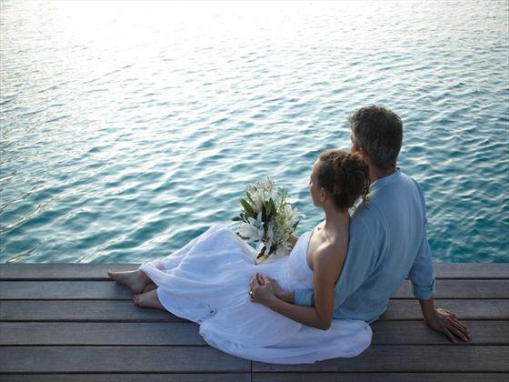 Blessing couple at Shangri La Villingili Resort & Spa