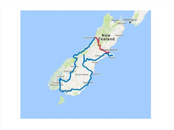 South Island Natural Discovery Self-Drive map