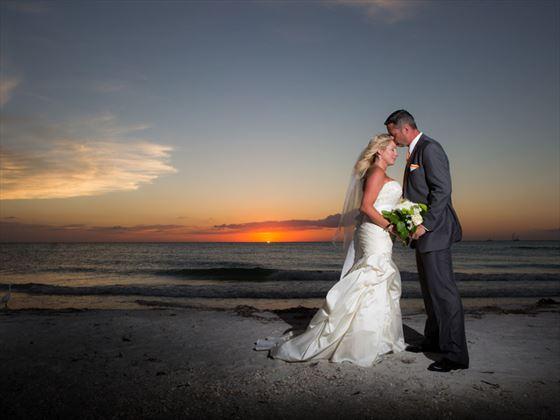 Beautiful sunset wedding at the Sheraton Sand Key Resort