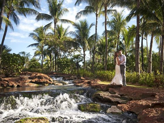 Bride & Groom at Stingray Falls, Atlantis The Cove