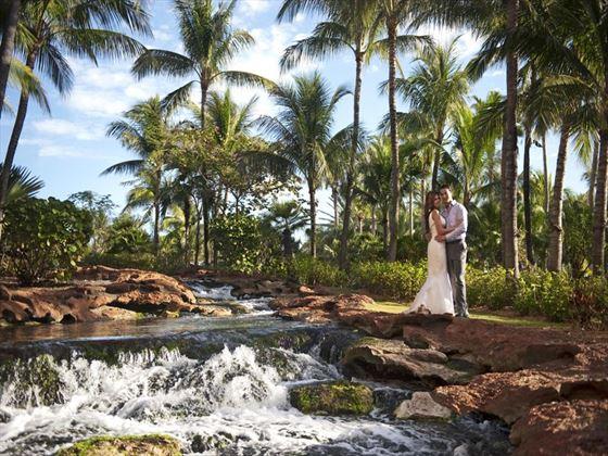 Bride & Groom at Stingray Falls, Atlantis The Cove