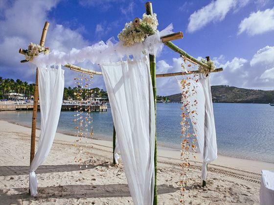 Weddings beachside at St James's Club & Villas