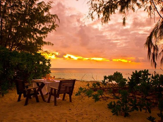 Enjoy sundowners cocktails on Denis Private Island
