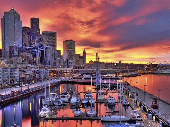 Sunset over Bell Harbor Marina, Seattle