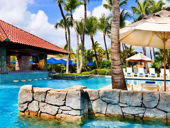 Swim-up pool bar at Hyatt Regency Aruba Resort & Casino