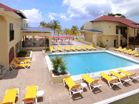 Swimming pool and sun terrace at Rooms on the Beach Ocho Rios