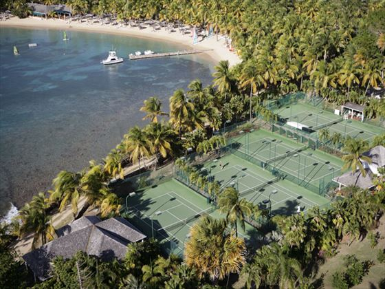 Tennis courts at Curtain Bluff