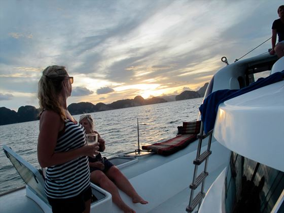 Thailand Sailing - enjoy a sundowner onboard