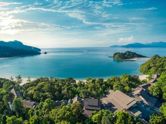 An aerial view of Datai Bay at The Andaman, Langkawi