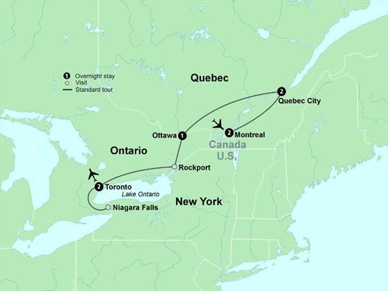 Tour map for The Best of Eastern Canada tour