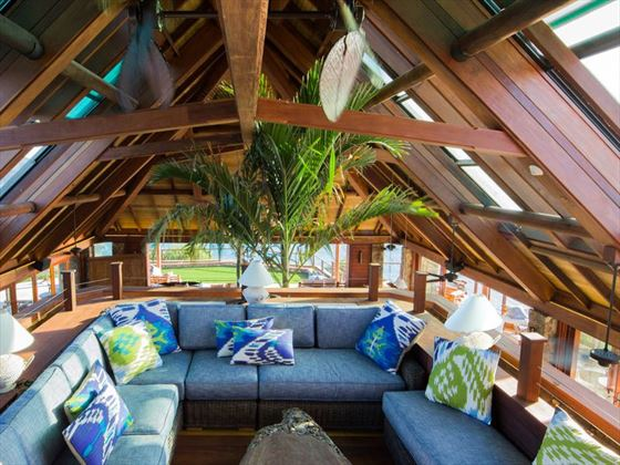 The Great House lounge at Necker Island