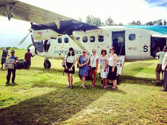Tropical Sky ladies arrive on Denis Island