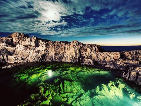 Rugged moonlit pool in Nova Scotia