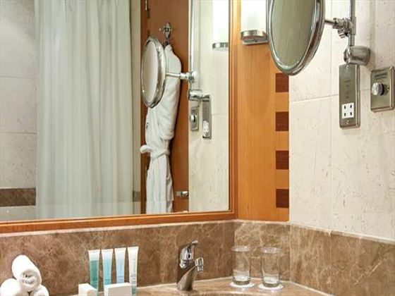 Typical bathroom at Hilton Dubai Jumeirah Beach Resort