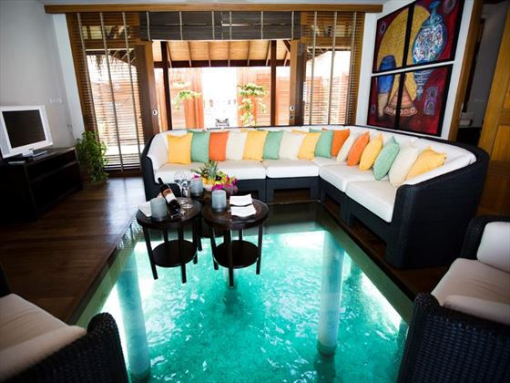 Typical in-suite living area at Lux Maldives