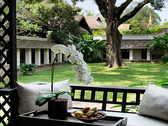 View of the courtyard from the Lanna Room at Tamarind Village Chiang Mai