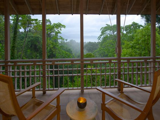 Views from the balcony at The Datai