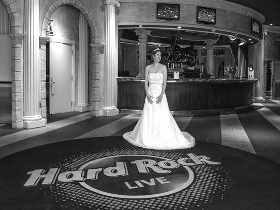Bride inside the famous Hard Rock Cafe Orlando