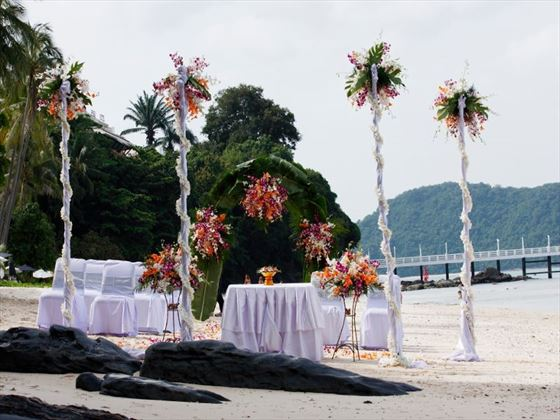Beachfront setting for the ceremony