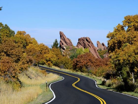 Windy road through Roxborough State Park, Colorado