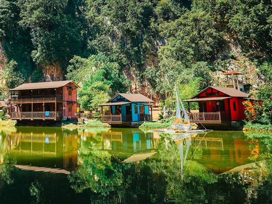 Wooden houses on Ipoh Lake, Malaysia